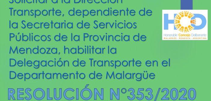 RESOLUCIÓN N° 353/2.020