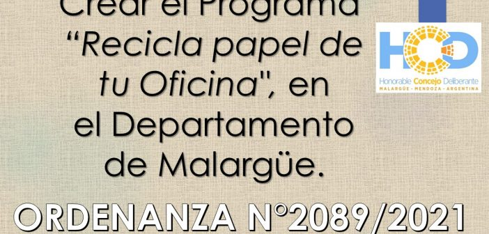 ORDENANZA N° 2.089/2.021