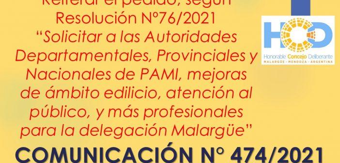 COMUNICACIÓN N° 474/2.021