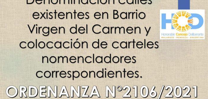 ORDENANZA N° 2.106/2.021